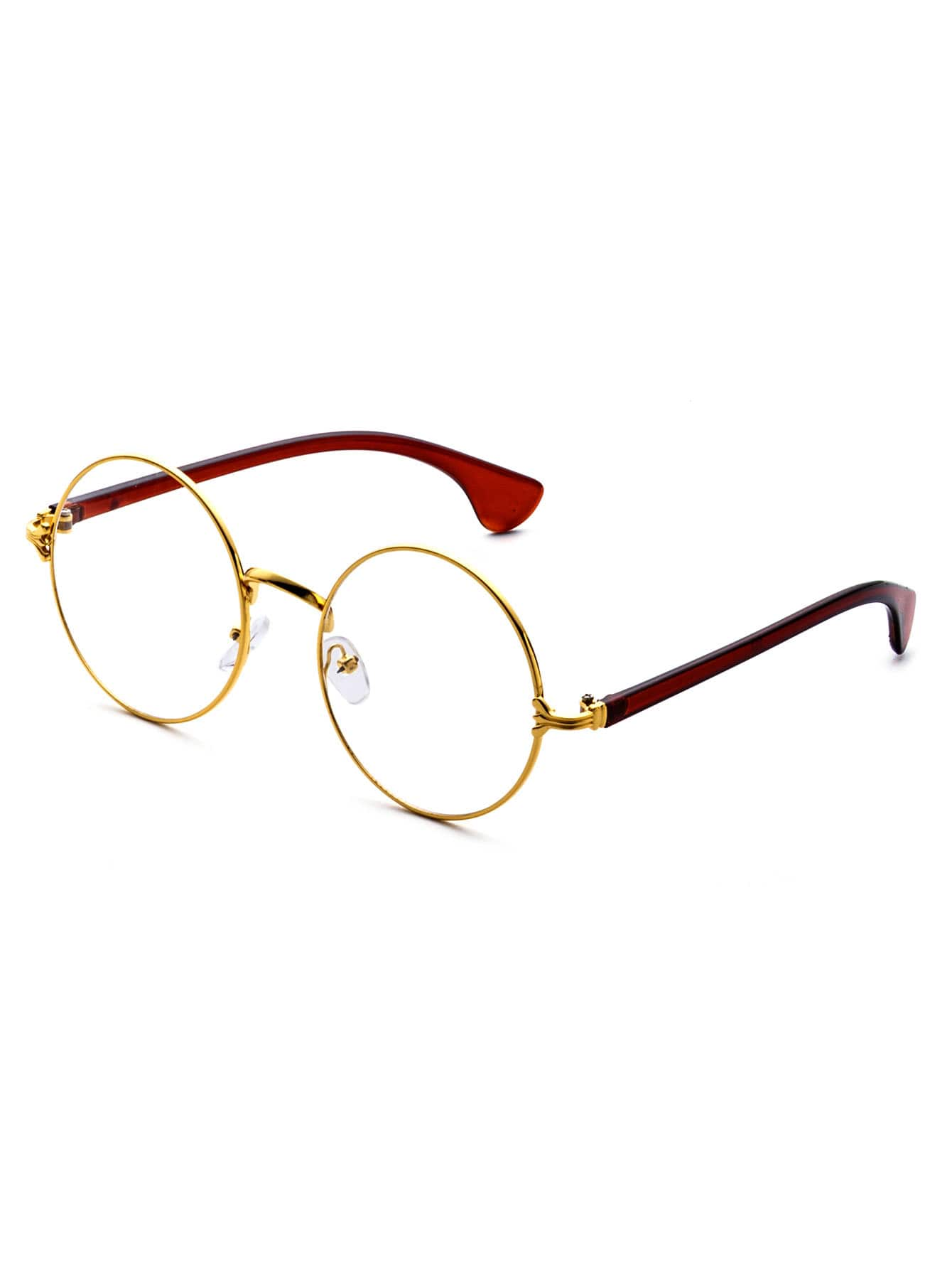 Gold Frame Contrast Arm Round Lens Glasses