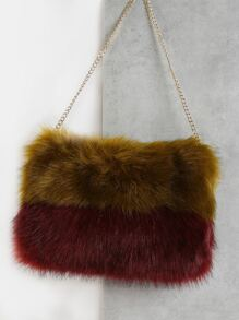 Color Block Faux Fur Purse OLIVE