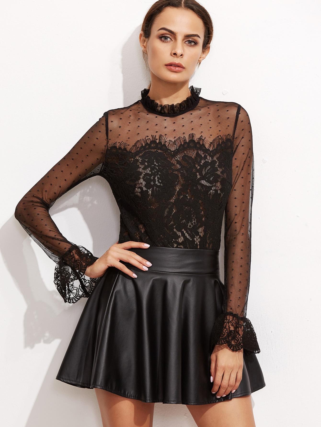 Black Fungus Collar Keyhole Back Lace Trim Top blouse161020705