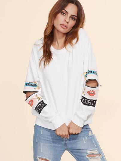White Cartoon Portrait Print Zip Slit Sleeve Sweatshirt
