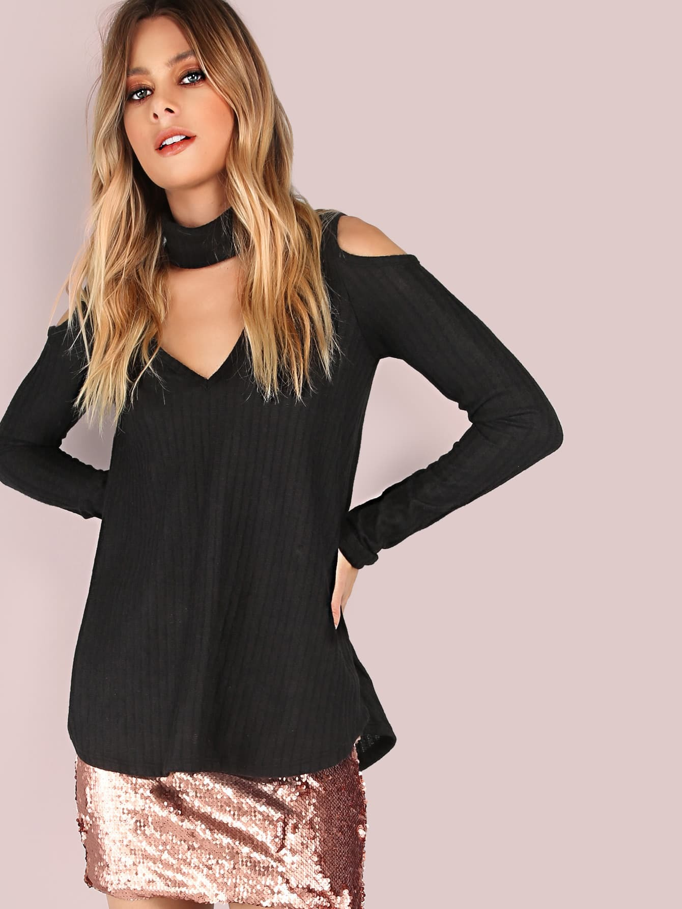 Thick Rib Knit Cold Shoulder Choker Fleece Top BLACK mmctop-lt606281b-black