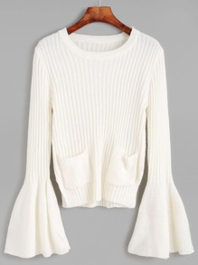 White Ribbed Knit Dual Pocket Front Bell Cuff Sweater