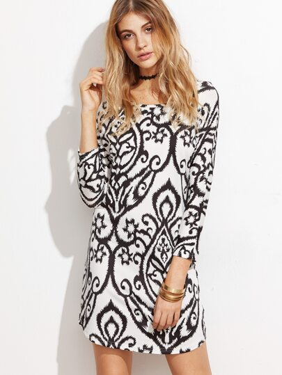 Black And White Print Sheath Dress