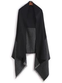 Bufanda de rayas con flecos - negro