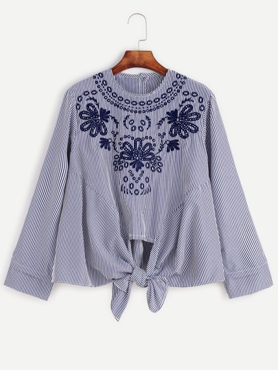 Blue Vertical Striped Embroidered Knotted Hem Blouse