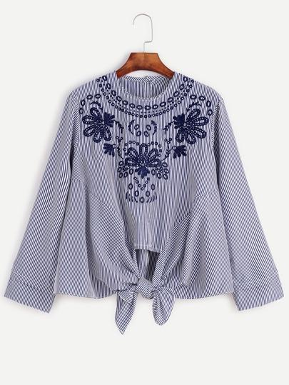 Блузки в полоску с вышивкой 47