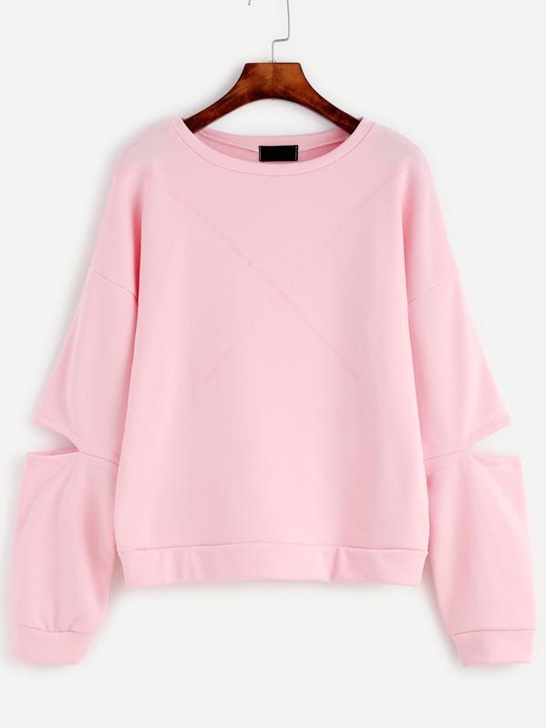 Pink Cut Out Sleeve Drop Shoulder Seam Sweatshirt, null