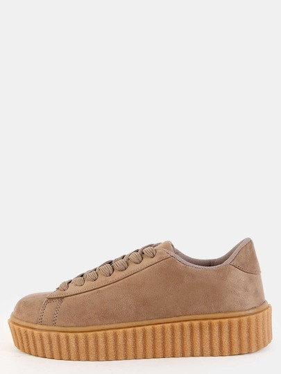 Lace Up Suede Sneakers TAUPE