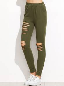 Olive Green Ripped Sweatpants