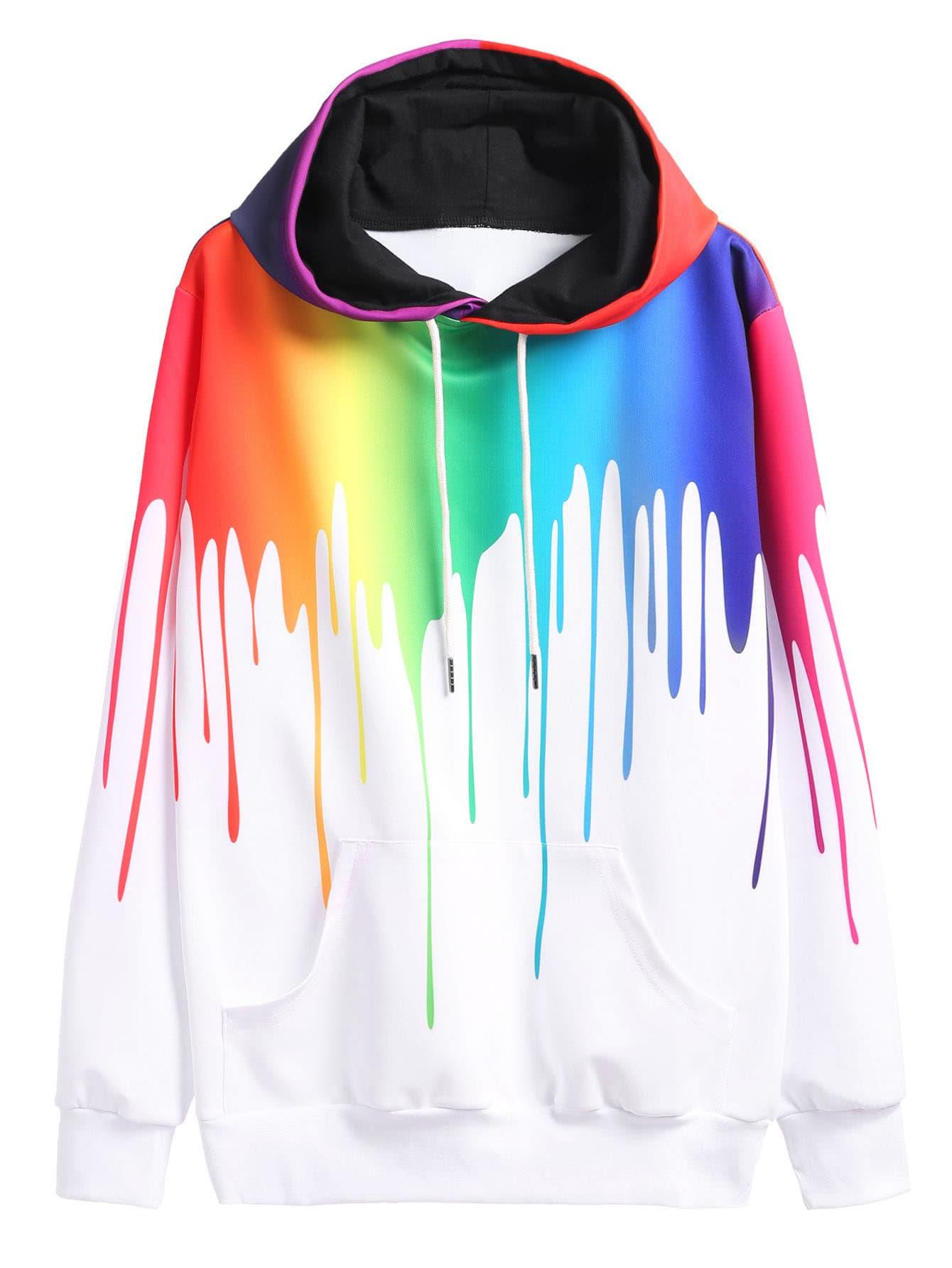 Paint Drip Drawstring Hooded Sweatshirt alien print drop shoulder hooded drawstring sweatshirt
