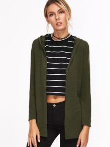 Dark Green Hooded Drawstring Coat