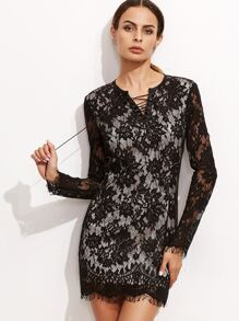 Black Eyelet Lace Up Bodycon Lace Dress