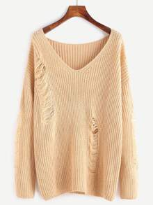Apricot V Neck Drop Shoulder Ripped Sweater