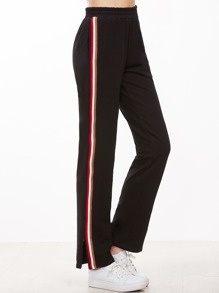 Black Striped Sideseam Zip Hem Sweatpants