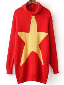 Red Cowl Neck Star Pattern Long Sweater