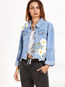 Pale Blue Appliques Raw Hem Denim Jacket