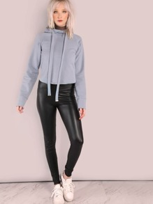 High Waisted Faux Leather Skinny Leggings BLACK