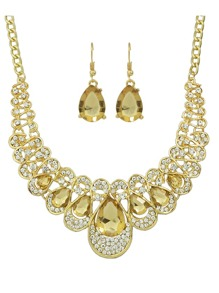 Champagne New Coming Rhinestone Statement Jewelry Set