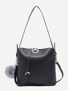 Black PU Pom Pom Shoulder Bag With Convertible Strap