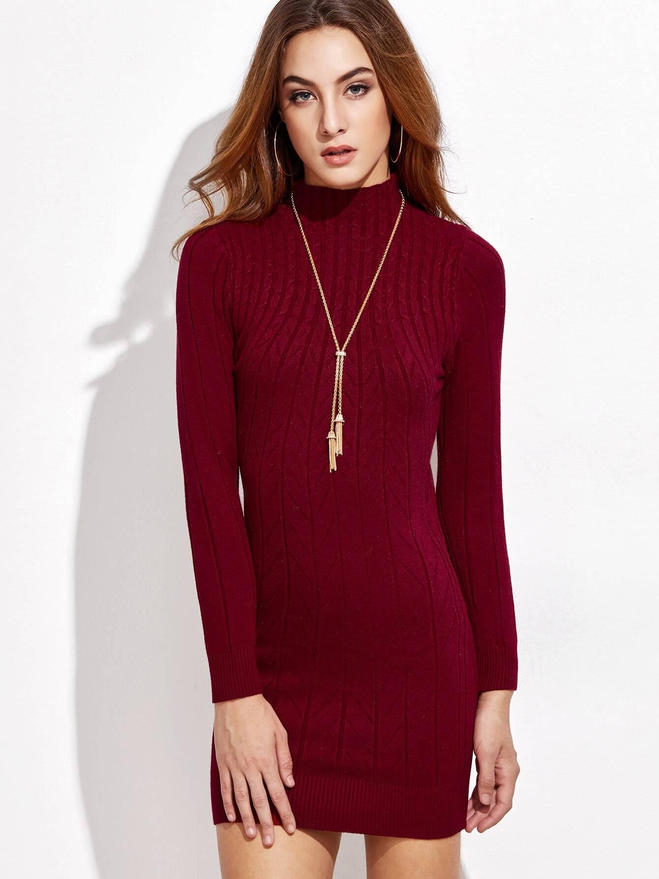 Burgundy Mock Neck Cable Knit Dress lisa corti короткое платье