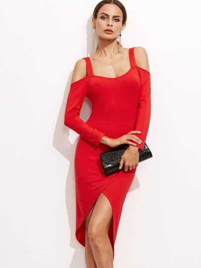 Red Cold Shoulder Overlap Detail Asymmetrical Dress