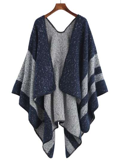 Navy And Grey Stripe Mottled Shawl Scarf