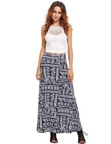 Black Meander Pattern Print High Waist Maxi Skirt