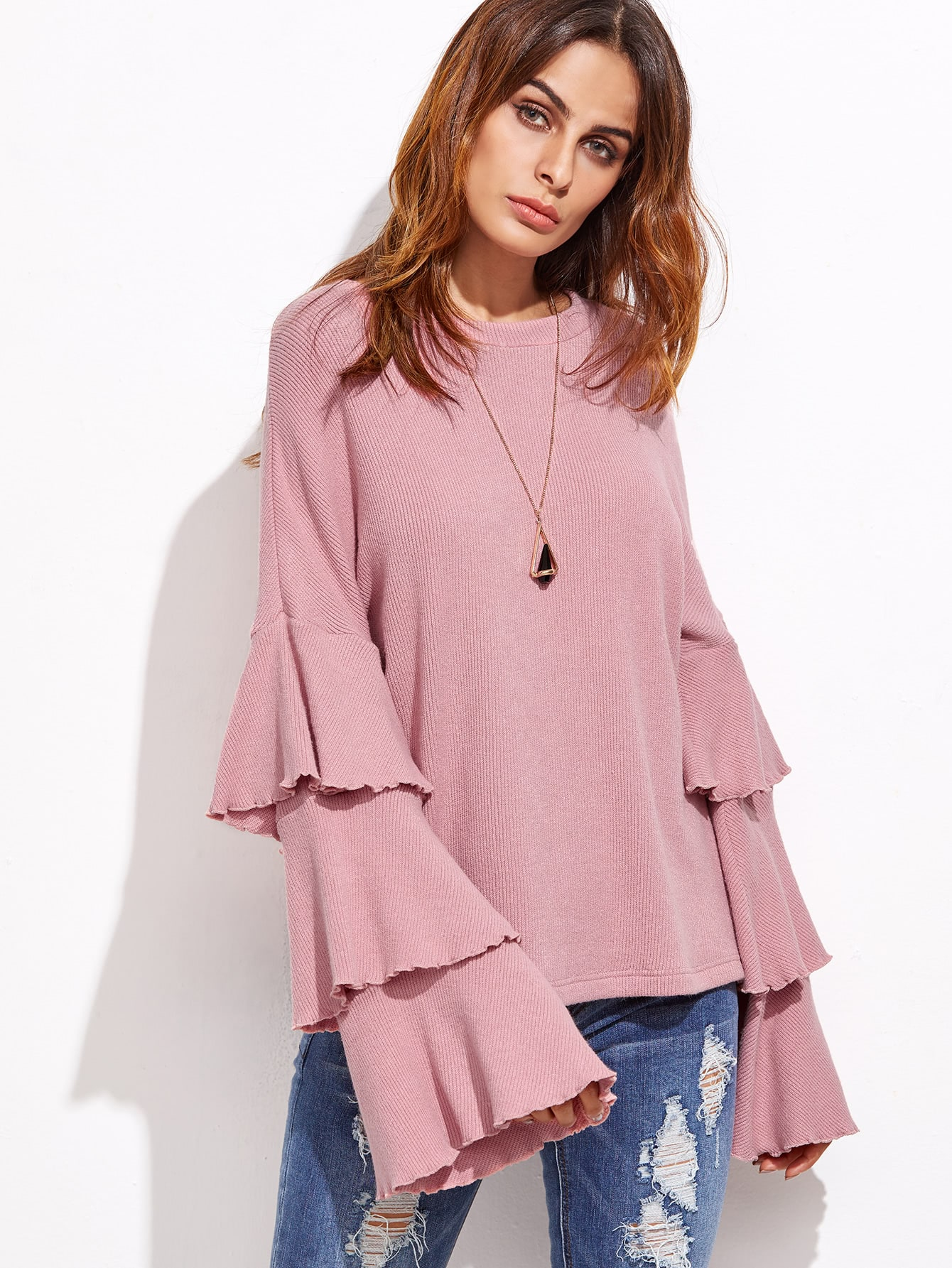 Pink Layered Bell Sleeve Ribbed Top sweater161006701