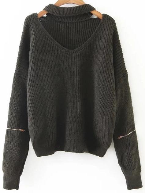 Dark Green Choker V Neck Zipper Sleeve Sweater
