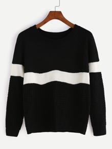 Black Mixed Knit Contrast Panel Sweater