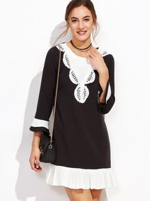 Contrast Crochet Trim Ruffle Hem Dress