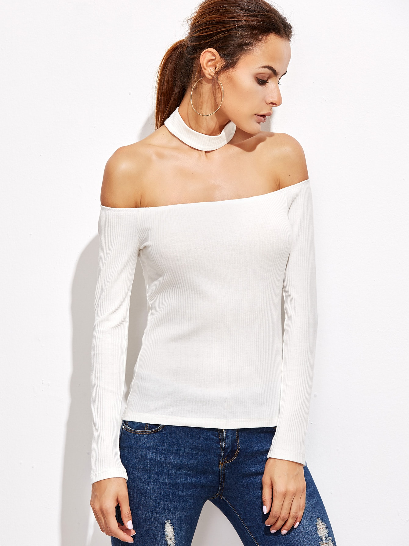 White Off The Shoulder Ribbed T-shirt With ChokerWhite Off The Shoulder Ribbed T-shirt With Choker<br><br>color: White<br>size: L,M,S,XS