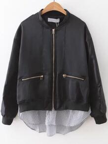 Black Striped 2 In 1 Zipper Jacket