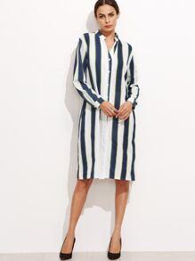 Contrast Vertical Striped Slit Side Shirt Dress