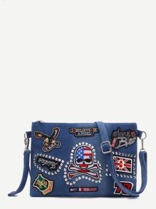 Blue Denim Logo Patch Crossbody Bag