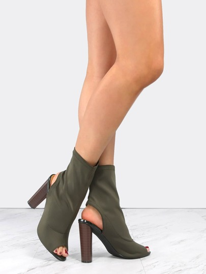 Peep Toe High Shaft Booties OLIVE