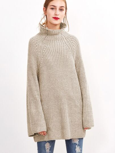 Apricot High Neck Raglan Sleeve Loose Sweater