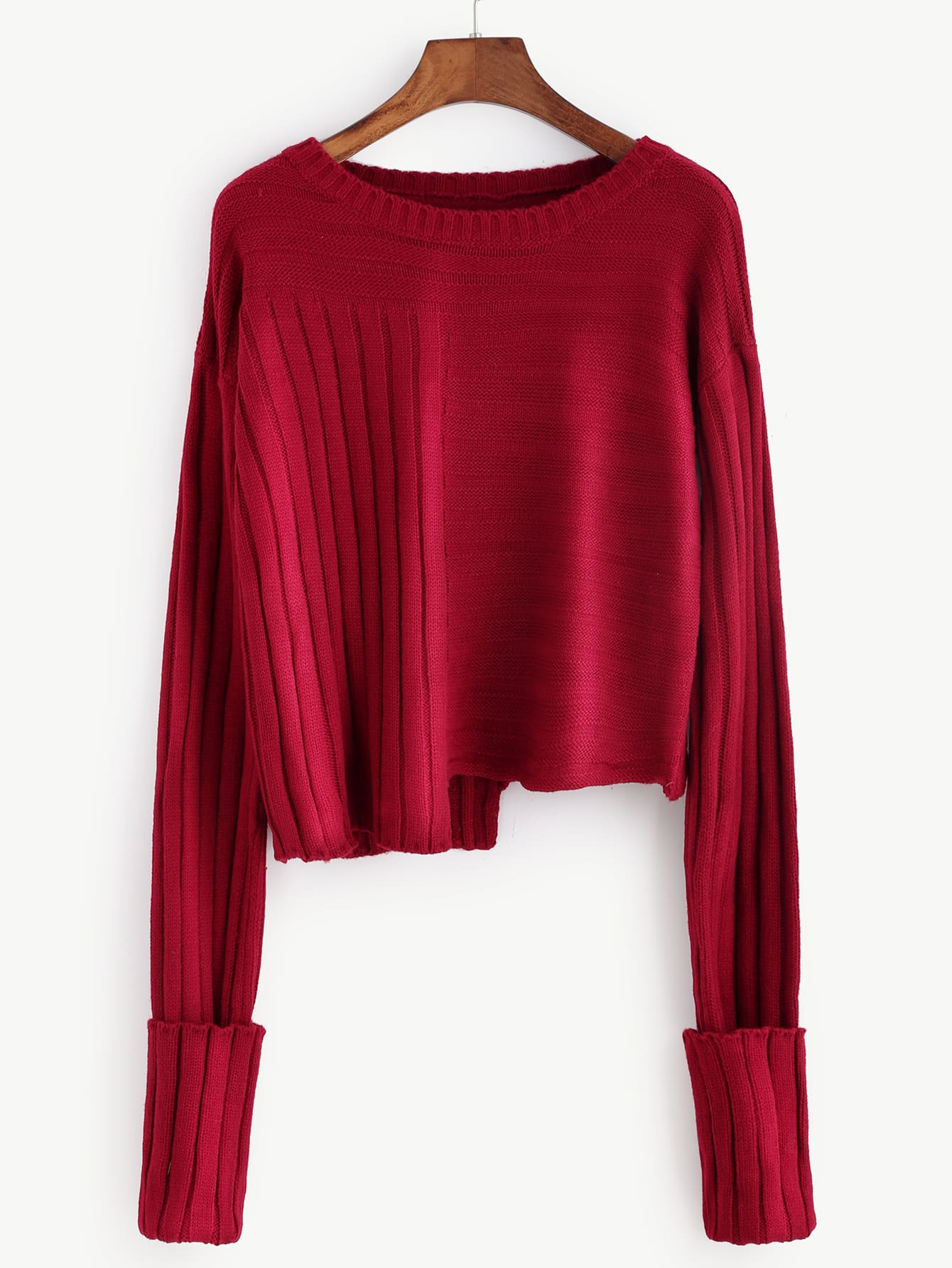 Burgundy Mixed Ribbed Knit Asymmetric Sweater sweater160923452