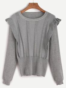 Grey Ruffle Trim Jersey Sweater