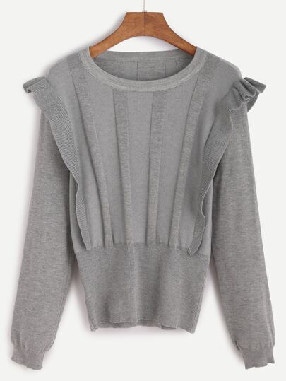 Grey Ruffle Trim Jersey Sweater