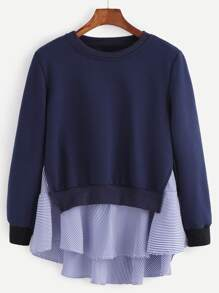 Navy Striped Ruffle Detail 2 In 1 Sweatshirt
