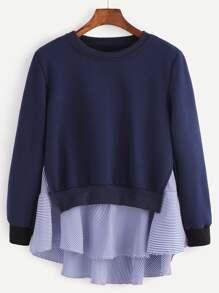 Navy Striped Ruffle Detail 2 In 1 Sweatshirt