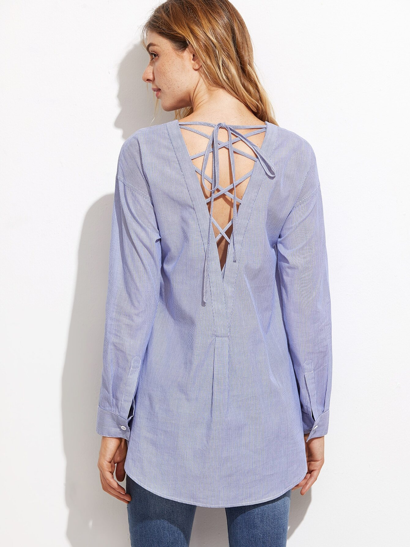 Blue Vertical Striped Lace Up V Back High Low Blouse blouse161010706