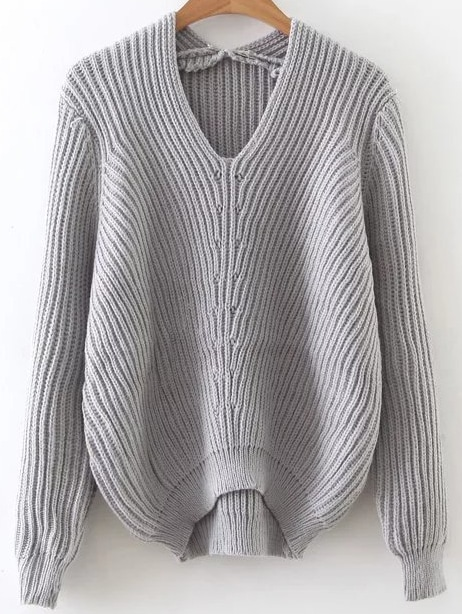 Grey V Neck Ribbed Asymmetrical Sweater sweater161011203