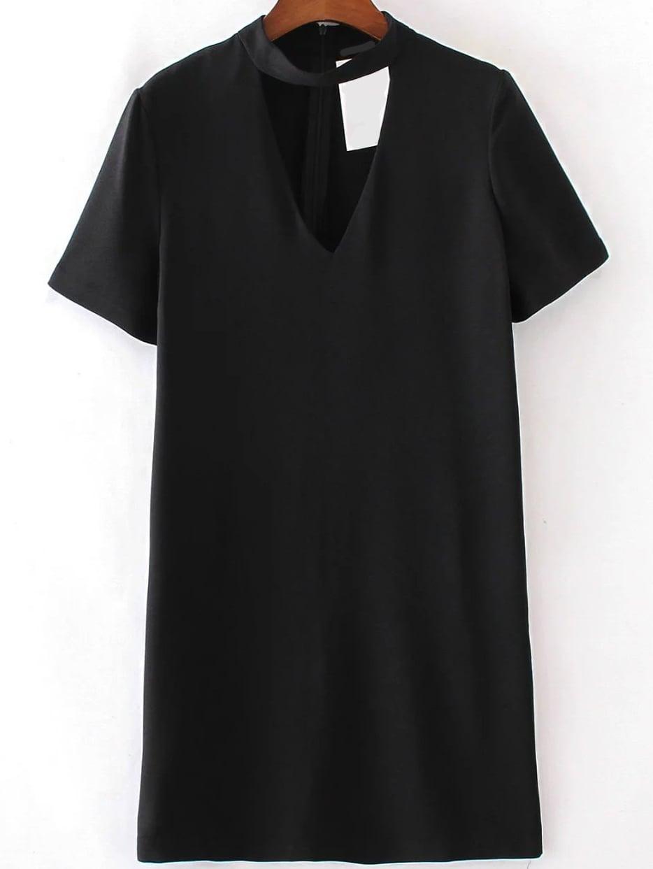 Фото Black Choker V Neck Short Sleeve Dress. Купить с доставкой