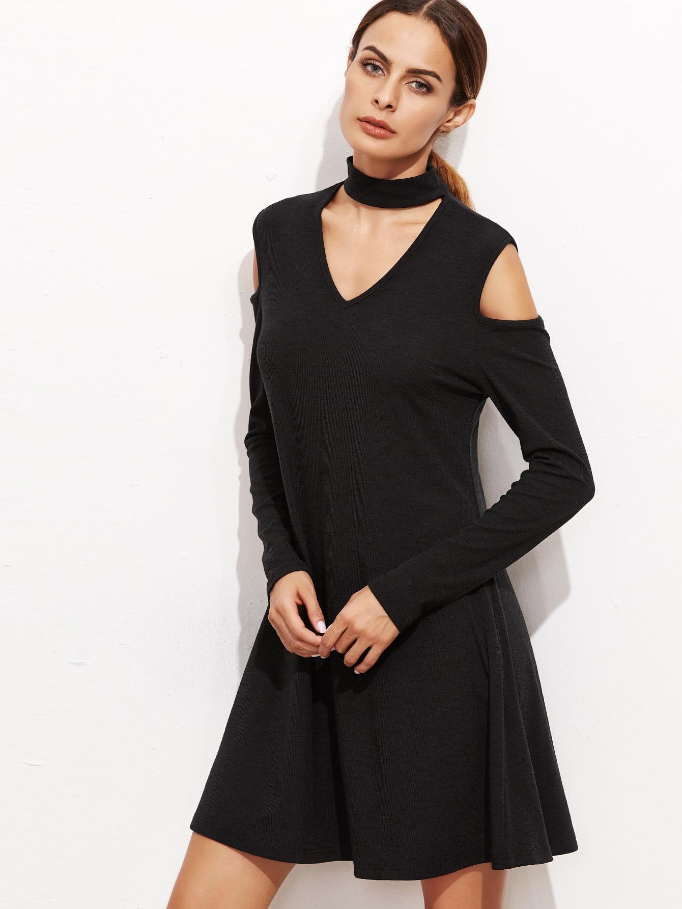 Фото Black Choker Neck Cut Out A Line Dress. Купить с доставкой