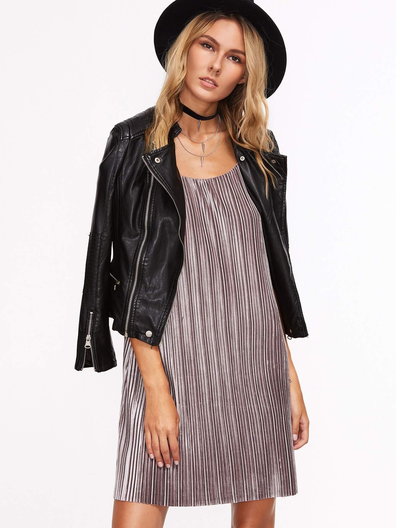 Фото Brown Textured Stripe Strappy Cami Dress. Купить с доставкой