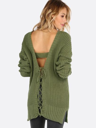 Pull tricoté dos avec lacet - olive