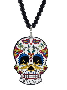 Beads Chain Long Colorful Skull Pendant Necklace