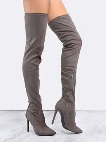 Stiletto Pointy Toe Thigh High Boots GREY